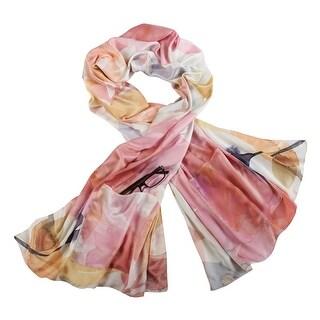 "Demdaco Women's Satin Scarf Wrap with Pockets - Floral Print 72"" x 25"" - One size"