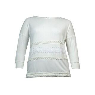 Kensie Women's Lace Fringe-Trim Sweatshirt
