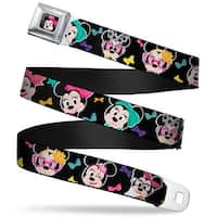 Mini Minnie Mouse Face Close Up Full Color Black Mini Minnie Expressions Seatbelt Belt