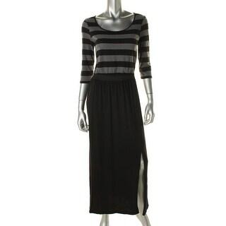 Eric & Lani Womens Juniors Maxi Dress Striped 3/4 Sleeves