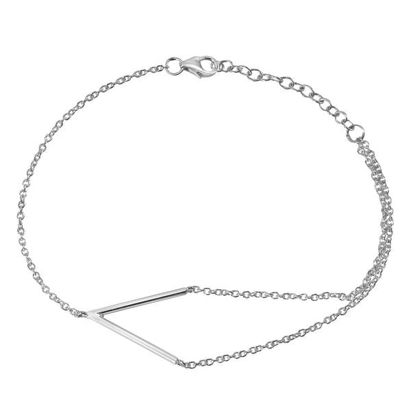 Handmade Unique V-Shaped Charm Sterling Silver Chain Bracelet (Thailand). Opens flyout.