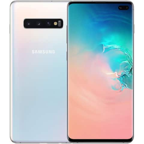 Samsung Galaxy S10+ G975F 128GB Unlocked GSM LTE Phone with Triple 12MP+12MP+16MP Rear Camera - Prism White - Prism White
