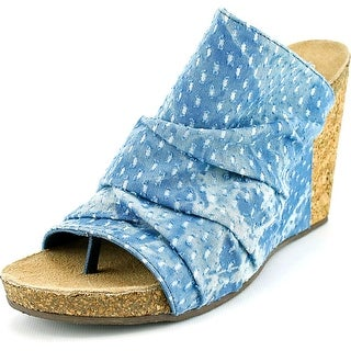 Coconuts By Matisse Tower Women  Open Toe Canvas Blue Wedge Sandal