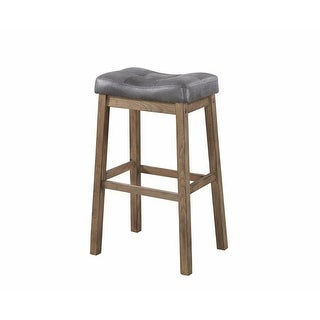 Wooden Rustic Backless Bar Height Stool, Gray & Brown, Set of 2