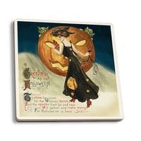 Halloween Greeting - Witch Dancing and Pumpkin - Vintage Holiday Art (Set of 4 Ceramic Coasters - Cork-backed, Absorbent)