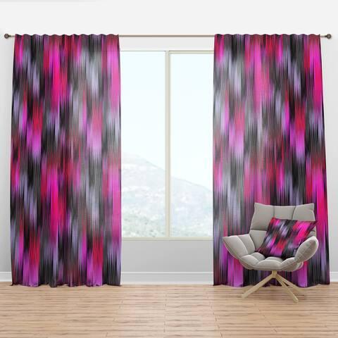 Designart 'Black And Purple Ikat' Modern & Contemporary Curtain Panel