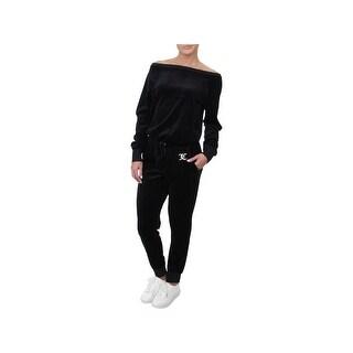 Juicy Couture Black Label Womens Jumpsuit Velour Long Sleeves
