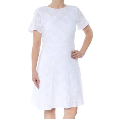 MICHAEL KORS White Short Sleeve Knee Length Sheath Dress Size XS