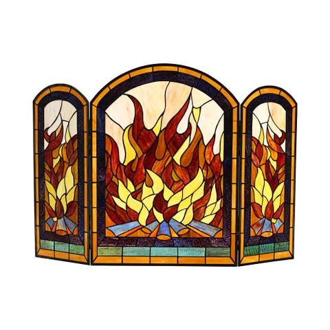 Tiffany-Style 3-panel Fireplace Screen