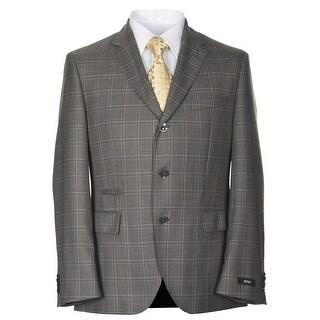 Hugo Boss Johnston Brown Windowpane Super 130 Wool Sportcoat 40 Short 40S