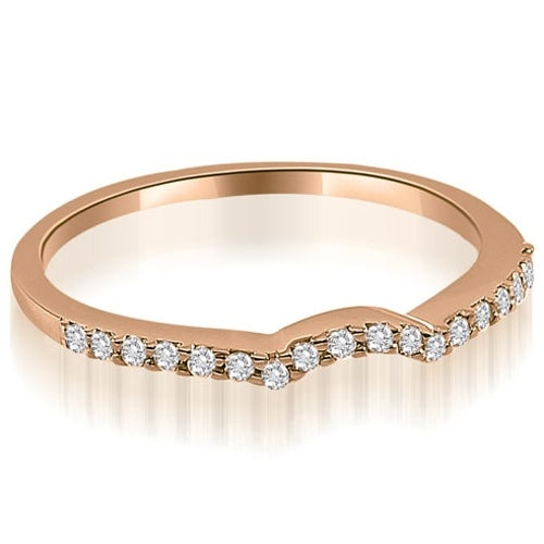 0.15 cttw. 14K Rose Gold Petite Curved Round Cut Diamond Wedding Ring