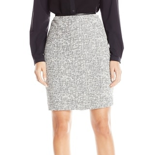 Calvin Klein NEW Gray White  Womens Size 4P Petite Tweed Pencil Skirt