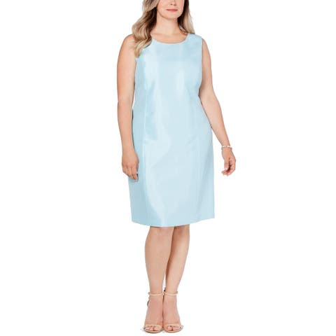 Kasper Women's Dress Tiffany Blue Size 20W Plus Sleeveless Shift Shiny