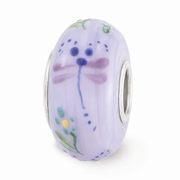 Sterling Silver Reflections Purple Hand Painted Dragonfly Glass Bead