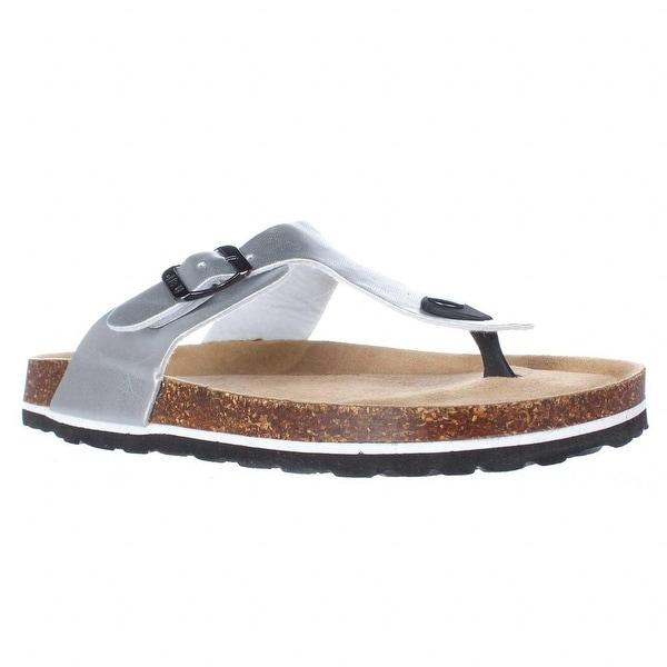 Jambu Laura Too Flat Comfort Thong Sandals, Silver - 8 us / 39 eu
