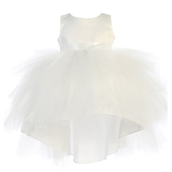 Baby Girls Ivory Hi-Low Multi Level Ruffle Tutu Flower Girl Dress
