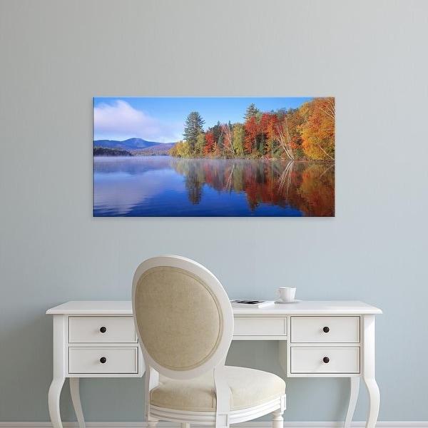 Easy Art Prints Panoramic Images's 'USA, New York, Franklin Falls Pond' Premium Canvas Art