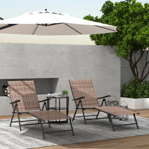 Tan Outdoor Lounge Chair (Set of 2)