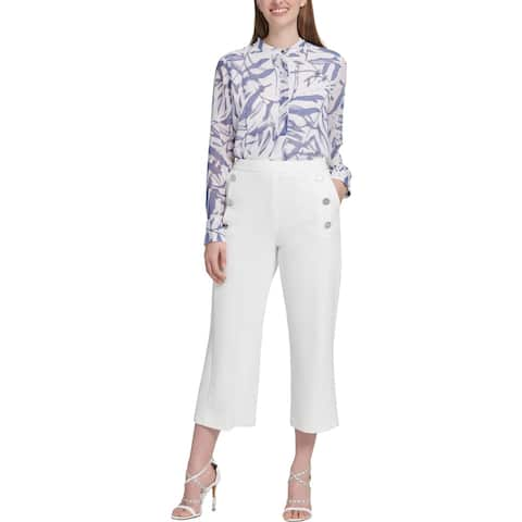 DKNY Womens Sailor Pants Cropped Mid-Rise