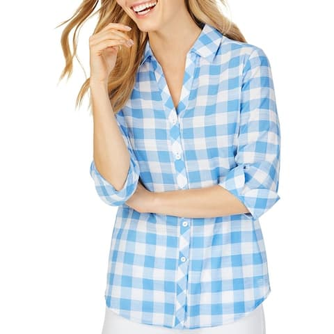 Foxcroft NYC Womens Dara Button-Down Top Cotton Gingham
