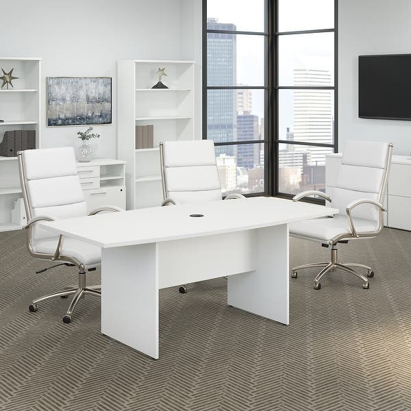 72w X 36d Conference Table With Wood Base By Bush Business Furniture On Sale Overstock 21623066 White