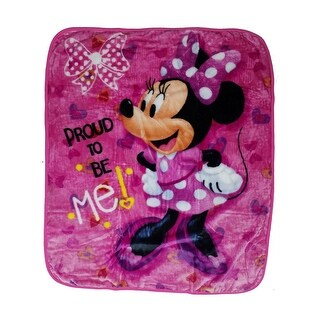 "Baby Girls Pink Minnie ""Proud To Be Me"" Print Royal Plush Blanket 40"" x 50"" - One size"