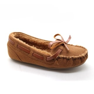 Girls Camel Bow Detailed Soft Moccasin Flat Casual Shoes 11-4 Kids