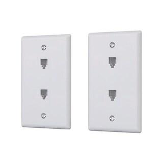 Monoprice Duplex Phone Jack Plate - White (2 pack)