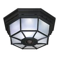 Heath Zenith HZ-4300 4-Light 360 Degree Motion Activated Outdoor Flush Mount Ceiling Fixture - Black - N/A
