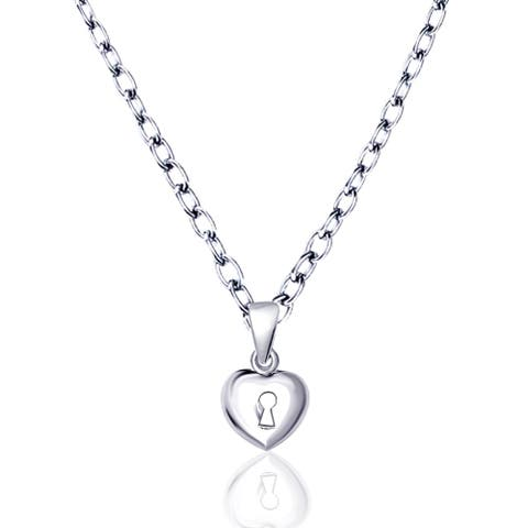 Heart Sterling Silver Chain Pendant by Orchid Jewelry - White