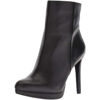 Nine West Womens Quanette Leather Almond Toe Mid-Calf Fashion Boots