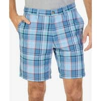 Nautica Blue Mens Size 32 Classic Fit Roadmap Plaid Chino Shorts