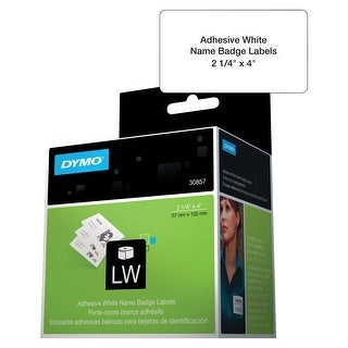 Dymo LabelWriter 450 Turbo Rectangle Name Badges, 2-1/4 x 4 Inches, White, 250 Labels