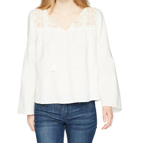 Roxy White Women's Size Large L Mesh Inset Bell Sleeve Blouse