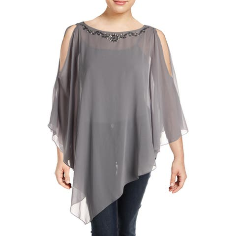 SLNY Womens Plus Poncho Top Sheer Embellished - Grey