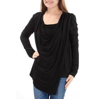 KAREN KANE $89 Womens New 1248 Black Long Sleeve Jewel Neck Casual Top M B+B