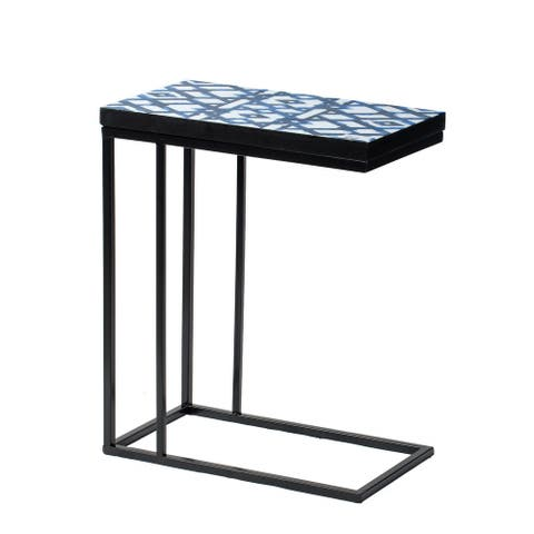 Black and Indigo Triangles C-Side Table