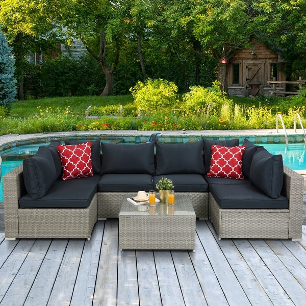 Outdoor Rattan 7-piece Sectional Sofa with Cushion. Opens flyout.