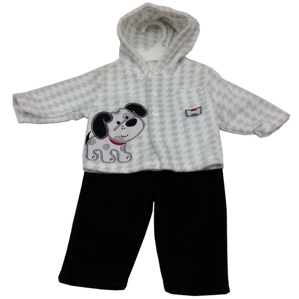 Baby Rebels Baby Boys Black White Checker Poppy Applique 2 Pc Pant Set 3-9M