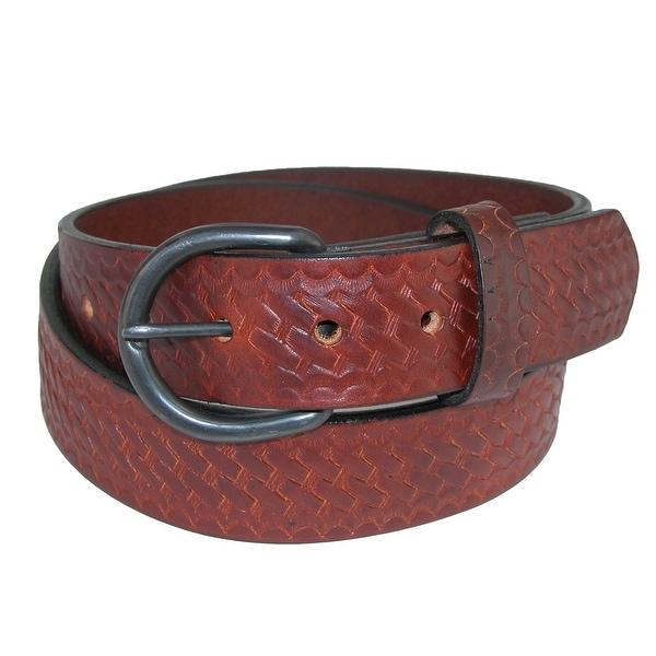 Boston Leather Men's Oil Tanned Leather Basketweave Belt