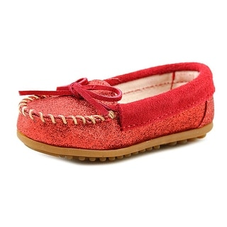 Minnetonka Glitter Moccasin Toddler Round Toe Synthetic Red Loafer