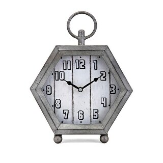 10 Metallic Gray with Galvanized Finish Decorative Table Topper Clock