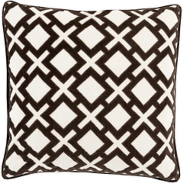 "22"" X's and Squares Licorice Black and Ivory White Decorative Woven Throw Pillow - Down Filler"