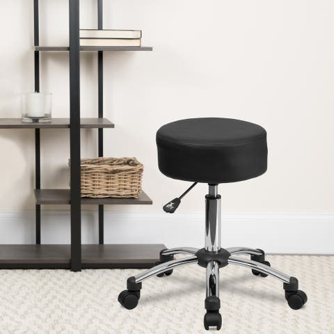 Backless Adjustable Multi-Purpose Ergonomic Stool With Chrome Base