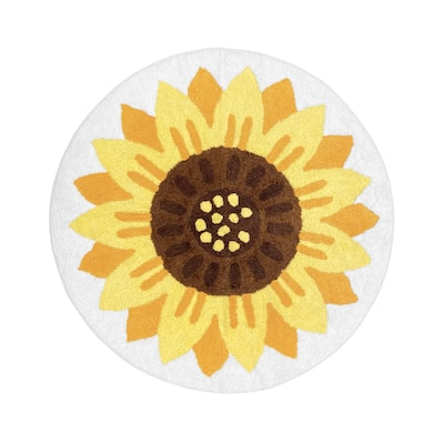 Sunflower Floral Collection Accent Floor Rug (30in Round) - Yellow, Green and White Boho Farmhouse Flower - 2' x 3'