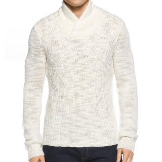 Calvin Klein NEW White Ivory Mens XL Cable Knit Shawl Collar Sweater