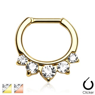 Five Pronged CZs Gold IP Over 316L Surgical Steel Septum Clicker (Sold Ind.) (2 options available)