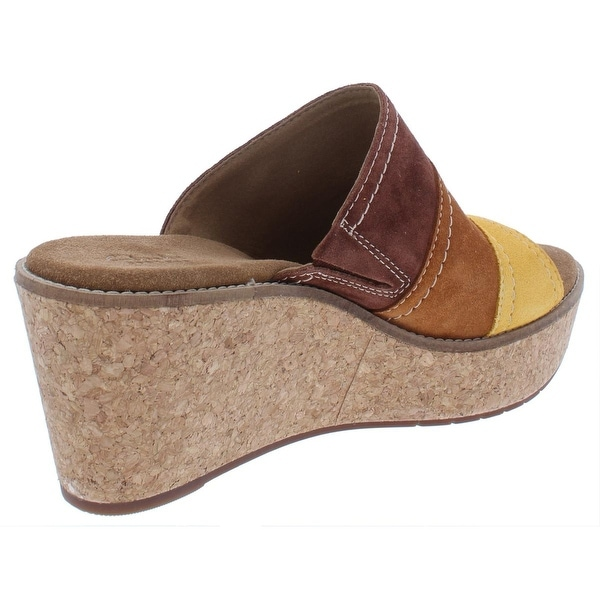 Shop Clarks Womens Aisley Lily Wedge Sandals Suede Cork