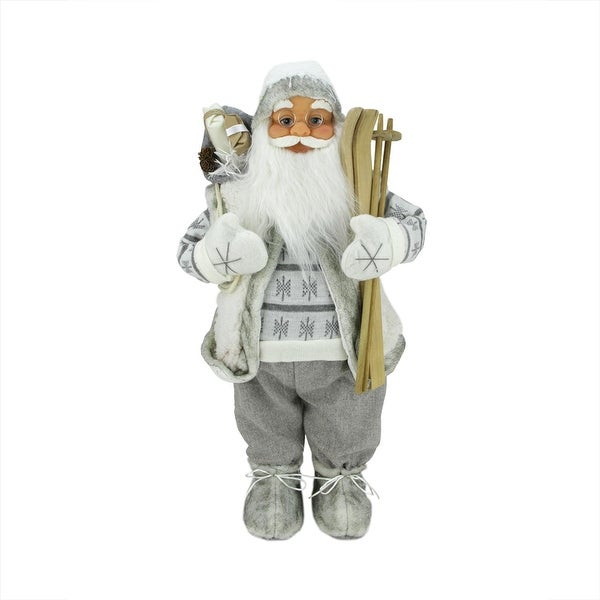 """24"""" Classic Skiing Pure White and Gray Standing Santa Claus Christmas Figure"""