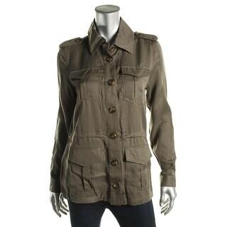 Aqua Womens Military Jacket Tencel Cargo Pockets